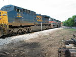 Interesting power on the combined EB/BN detour is setting cars to the branch at Atlantic, July 11, 2011.