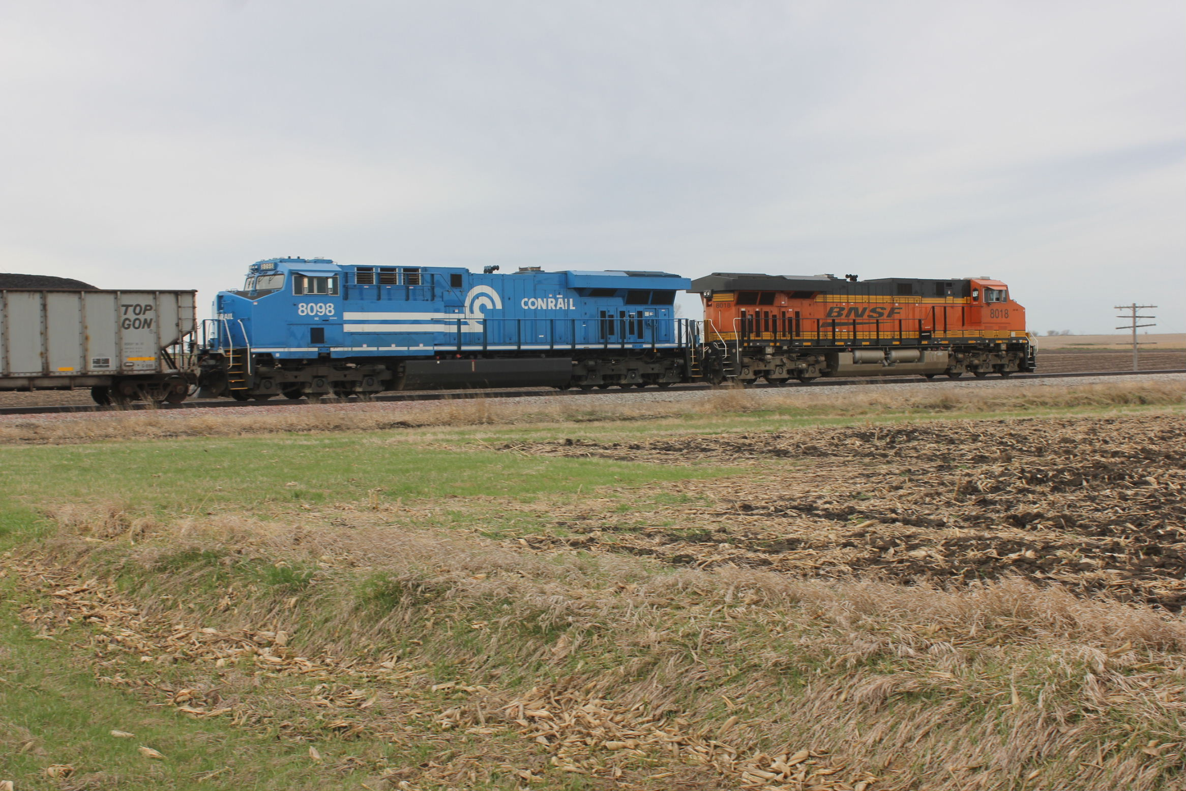At the grade crossing west of Walcott.
