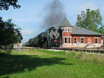 Deadhead steam train passes the depot at Grinnell, June 16, 2012.