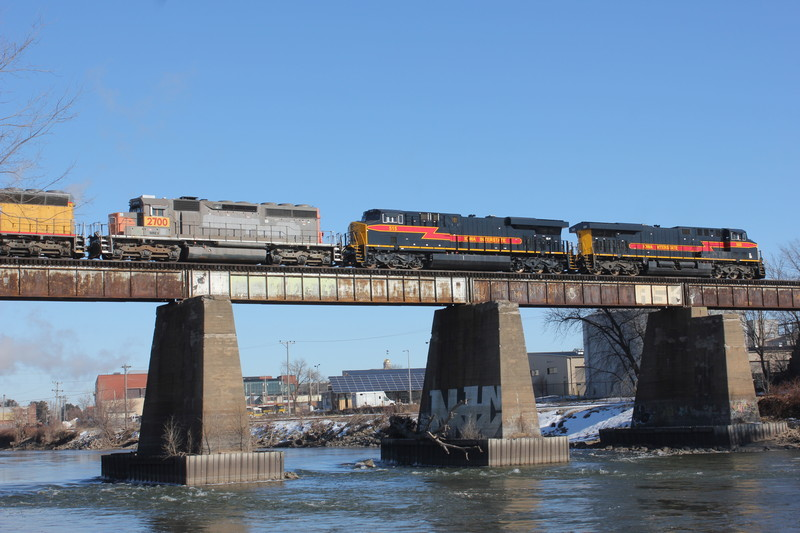 Feb. 12, 2015.  EB at Iowa City with dead UP SD45s bound for Silvis.