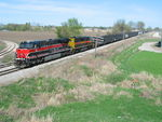 Rare daytime coal train at the Wilton Overpass, March 28, 2012.