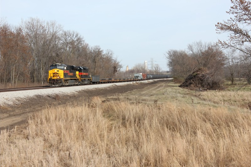 WB approaches the MP210 crossing,  Nov. 15, 2013.