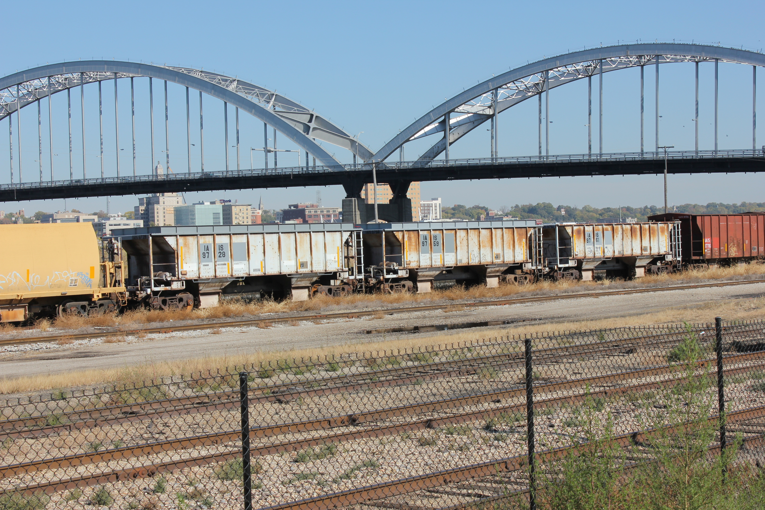 Some of the new and some old ballast cars at 17th St. yard in RI, Oct. 25, 2013.