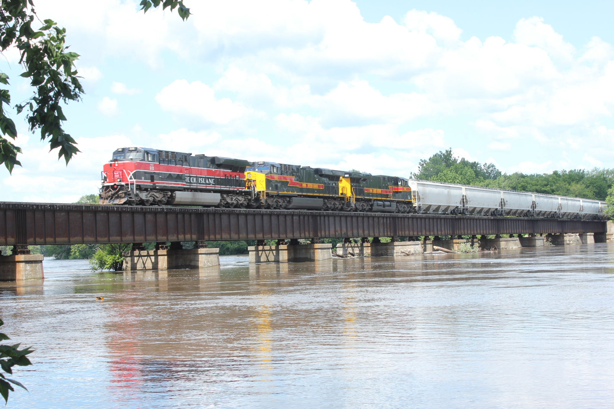 EB crosses a swollen Cedar River at Moscow, July 3, 2014.