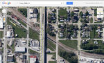 Google Maps view of the IAIS line between the former RI depot (upper left) and Ready Mixed Concrete (lower right).