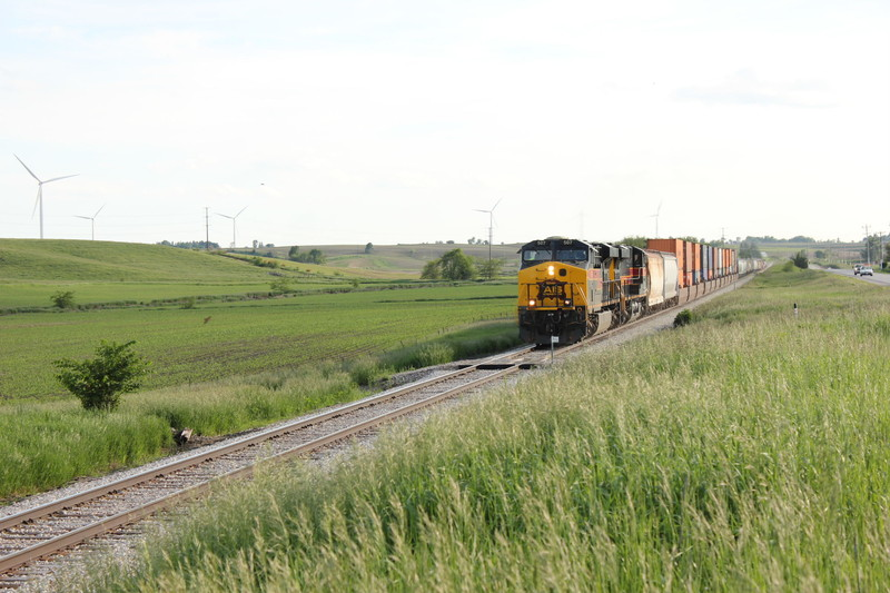 Friday's east train along the White Pole Road east of Anita.