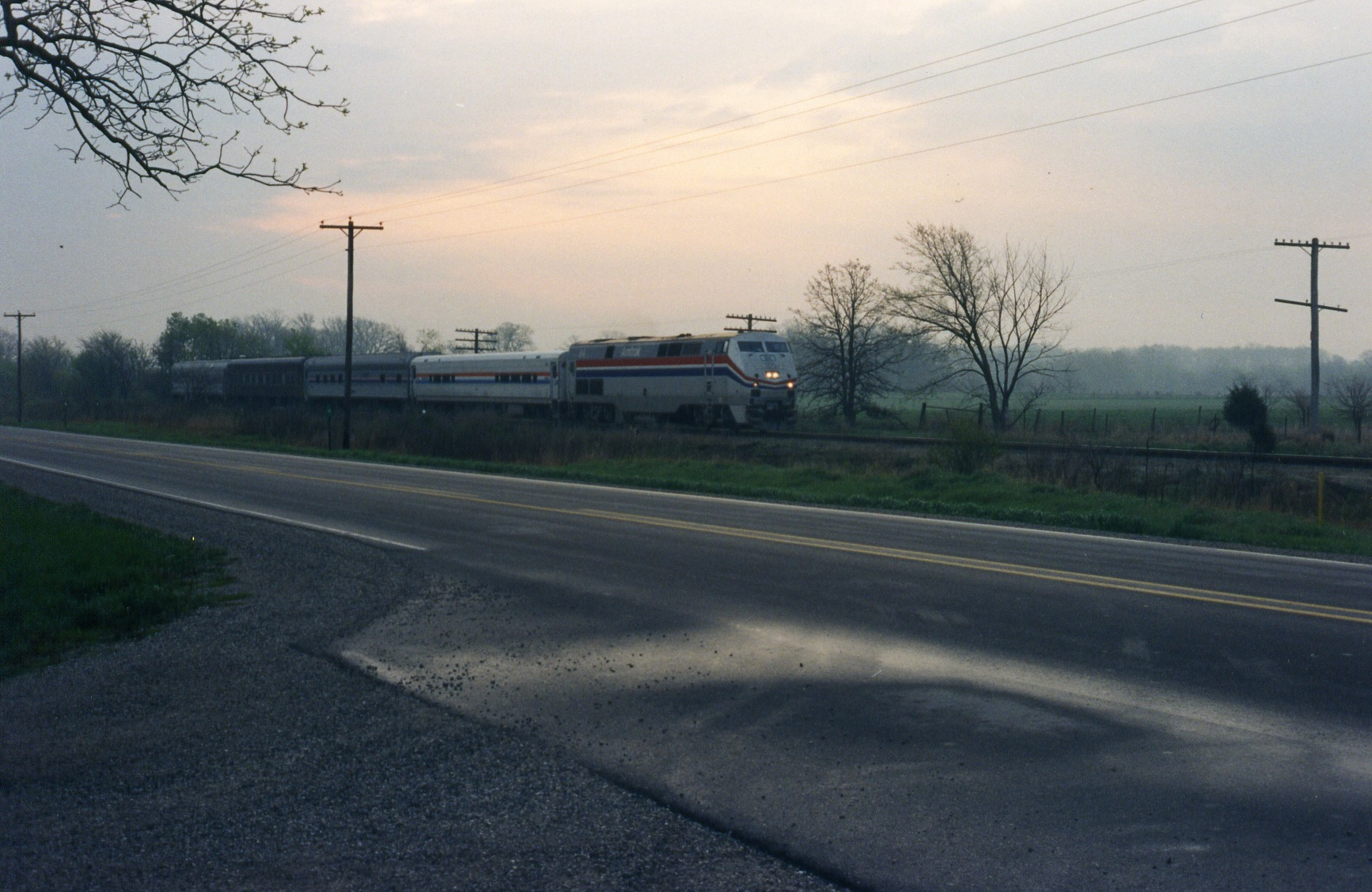 Amtrak test train east of Wilton at mp 205.5, April 1998