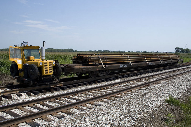 L.A. Colo & Sons trackmobile with new rail for the ethanol plant.   August 10, 2007.