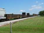 East train at Twin States, Aug. 7, 2007.  The crew is pulling past the east end, preparing to back in to meet the west train.
