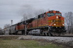 BNSF G-RCISMR departs Carbon Cliff, IL.  16-Dec-2006.