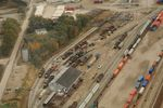 Brad Williams' November 2009 aerial view of Bluffs yard (used with permission) gives a nice overview of what I'm trying to model...minus the GEs and all the November mud.