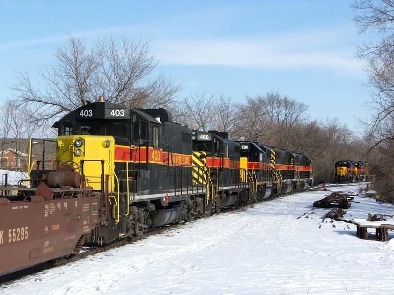 403 trails CBBI's consist as they pull to a stop before swapping road power.