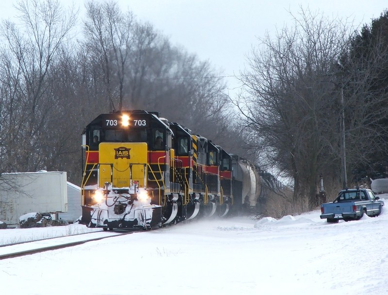 Iowa 703 charges the hill into Stockton.