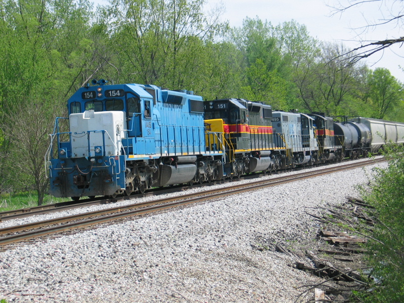 The turn is pulling westward down the siding, at the 210 crossing.