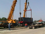 Removing flat car from tender 7081