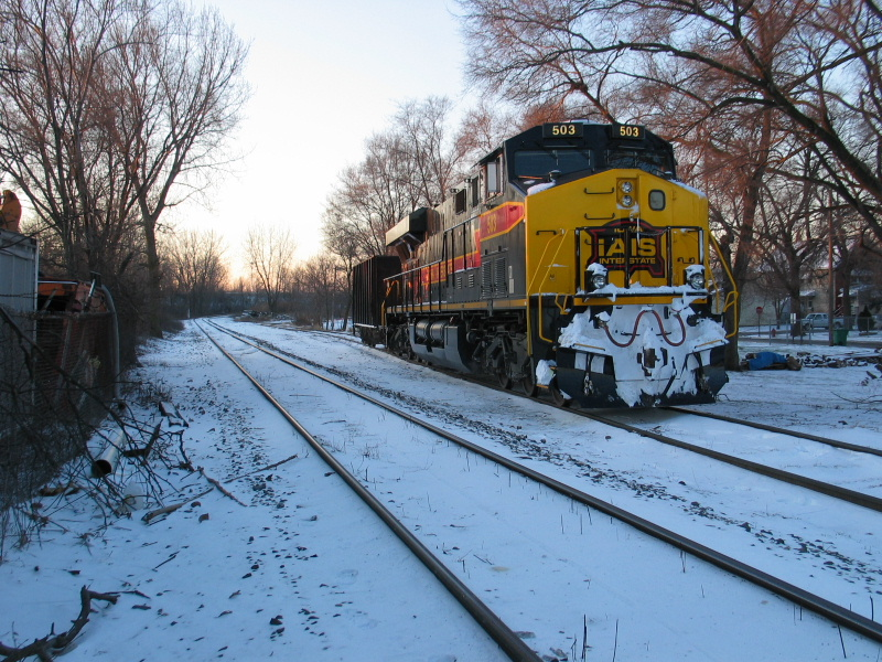 503 sits on the Evans Yard lead at Blue Island, Dec. 11, 2009.