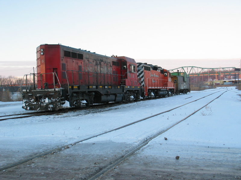 Ill. Railnet's power and caboose is tied down in La Salle, Dec. 14, 2010.