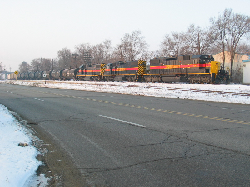 East train parked at Mc Donough St. in Joliet, waiting to get onto Metra.  Dec. 19, 2007.