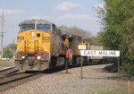 "UP 6666 West, CPWNA-04, jumps onto the ""BN Industrial"" at East Moline, IL on 5/5/05."