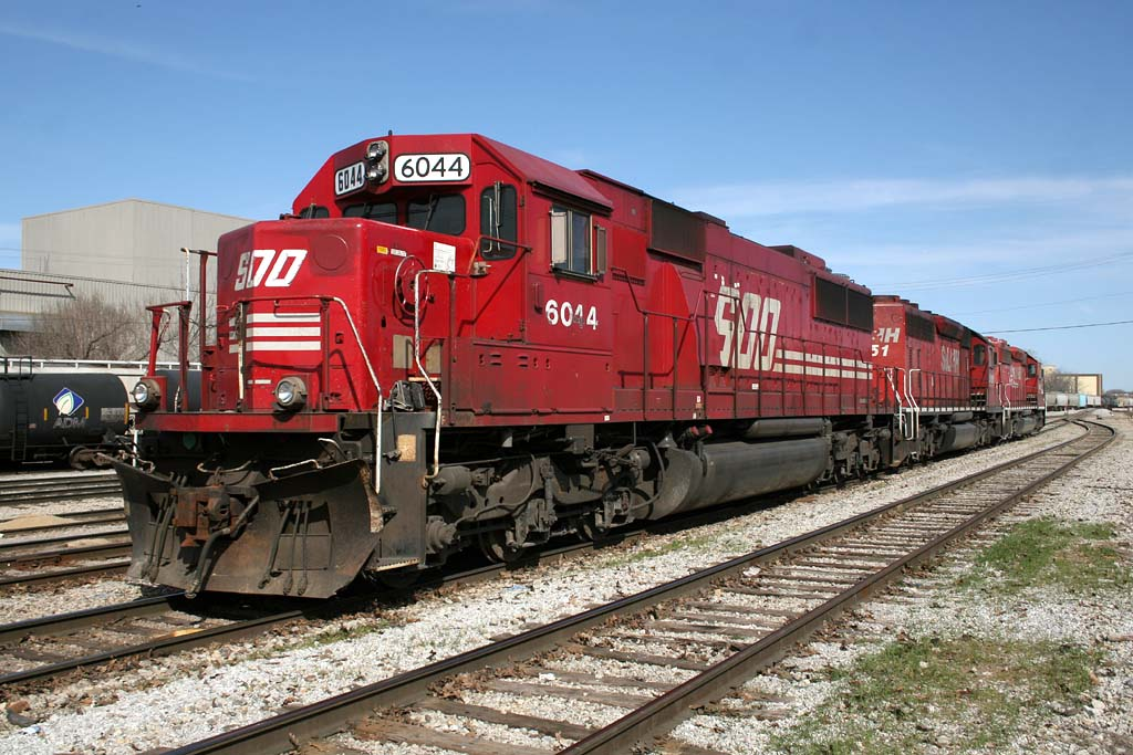 SOO 6044 waits for the next ADM syrup train at Rock Island, IL.  March 22, 2010.