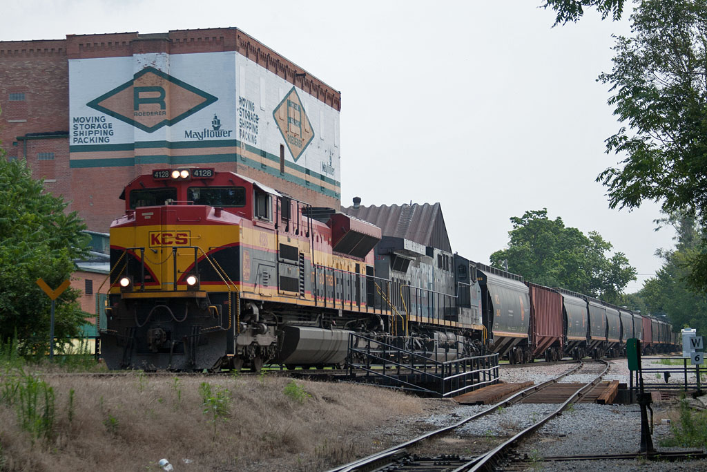 KCS 4128 departs Davenport, IA with an RICB-KCS27 detour on July 27, 2011.