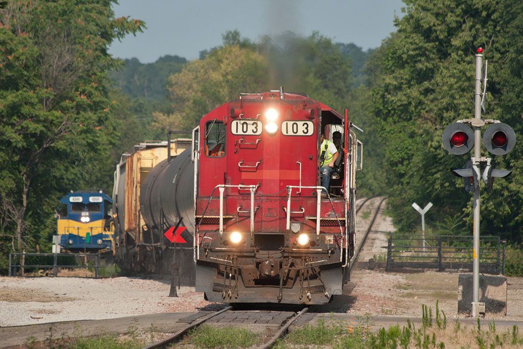 CP's B73 local enters the IAIS mainline at Missouri Division Jct; Davenport, IA.   July 6, 2012