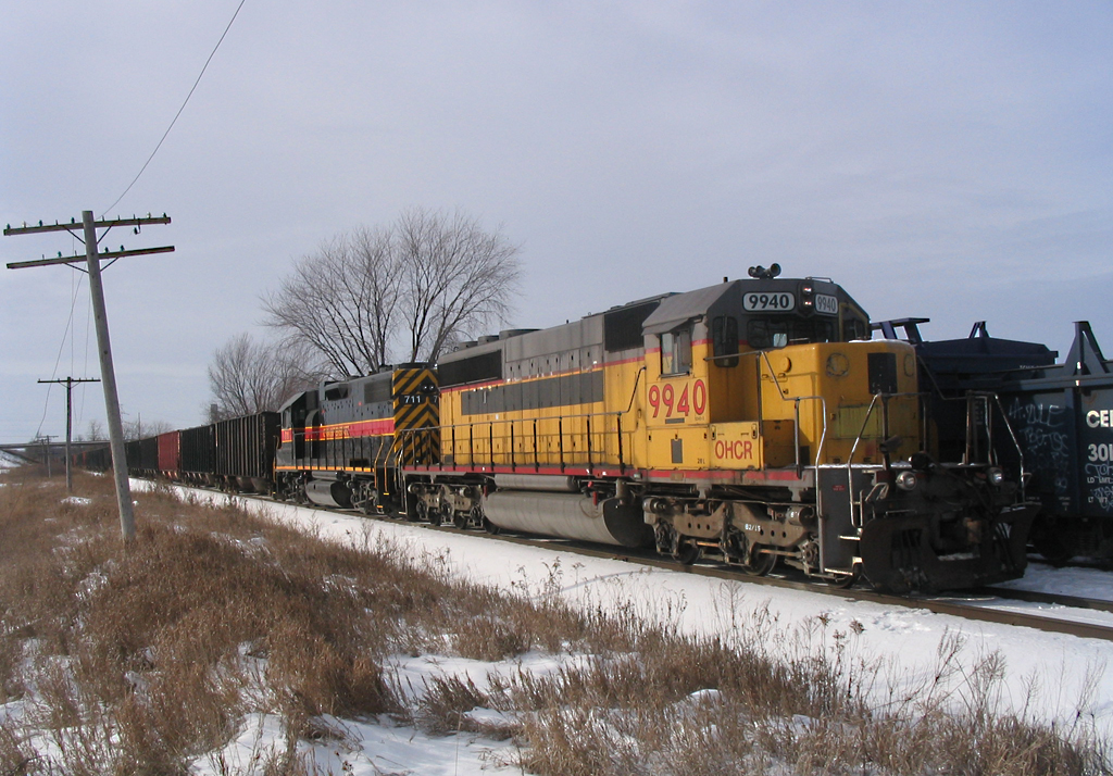 OHCR 9940 on CRPE @ Wilton, IA.  The crew is using IAIS 703 (lead engine) to switch JM.  December 11, 2005.