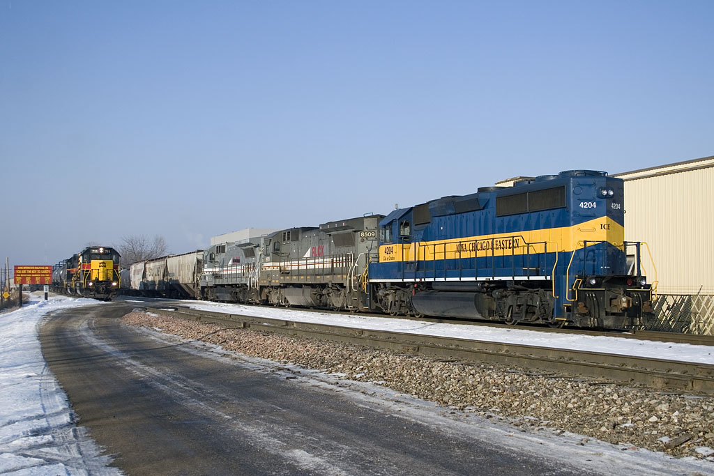 IC&E's Nitron Job holds on the BN side of the Rock Island yard while RISW goes about switching the yard.   December 19, 2007.