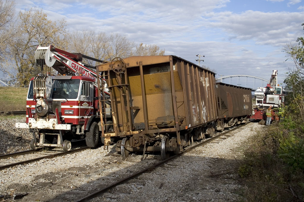 Cranemasters work a derailment on the Milan Branch.  Rock Island, IL. October 27, 2010.
