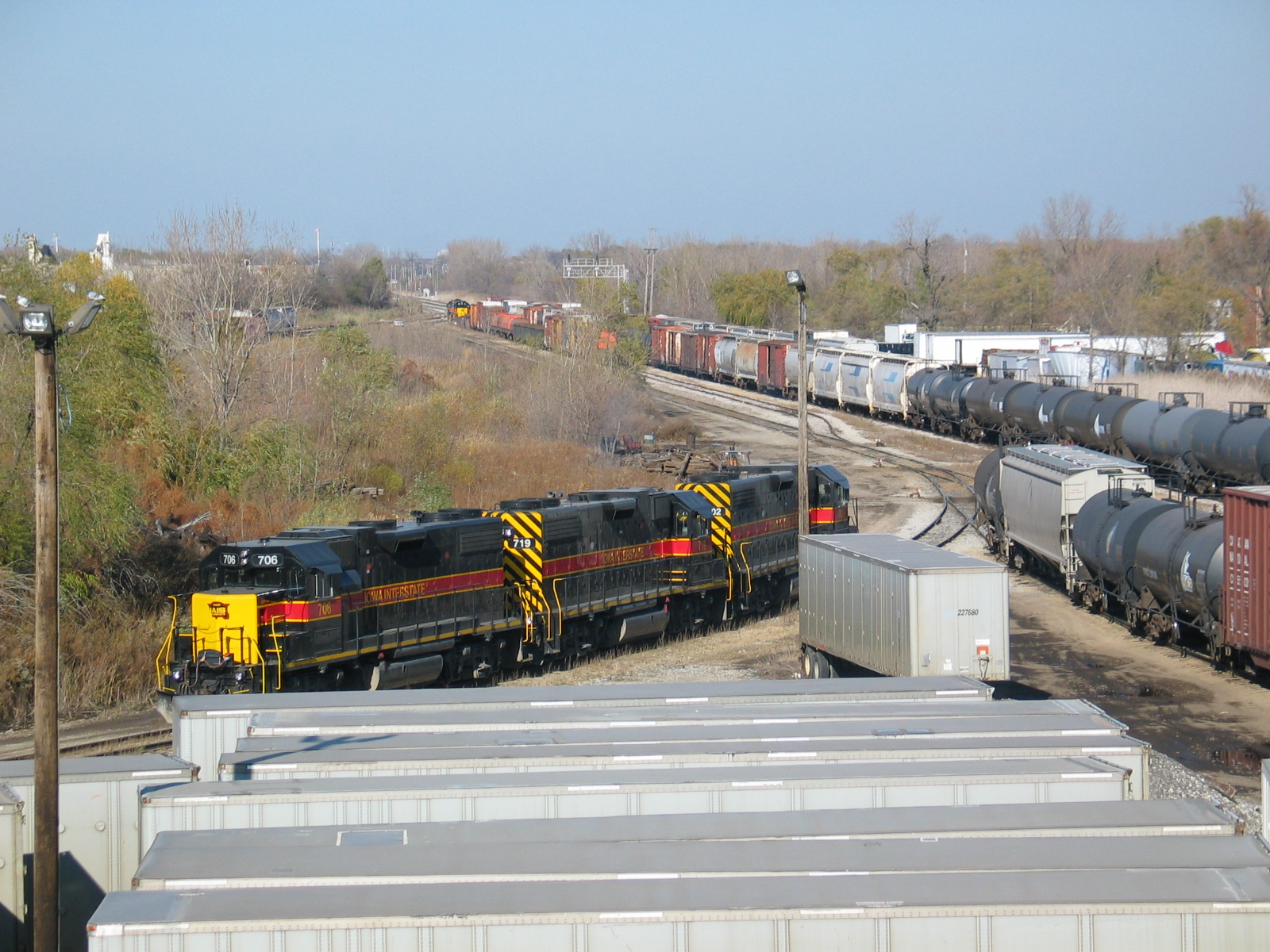 Looking north from 127th st., at the road power parked on the intermodal track.  In the background is the BI switcher power.  November 3, 2006.
