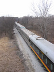 Westbound passenger train deadhead at F90 overpass near DeSoto, IA.  12-Jan-2007