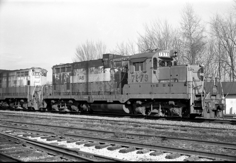 IAIS 479 in its original number, 7979, taken at Iowa City, IA, on 2 Mar 1985 by an unknown photographer.  Nathan Holmes collection