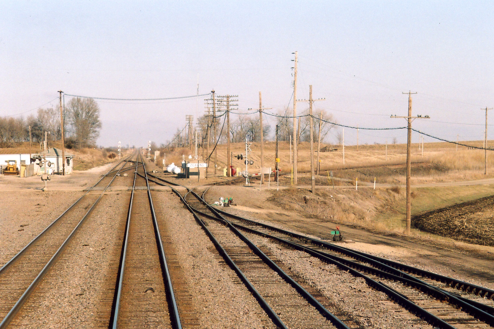 East end of Zearing yard, from Amtrak #5, Feb. 5, 2006.