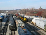 The eastbound (all 7 cars!) is pulling up the siding after the crews have swapped trains.  Dec. 18, 2006.