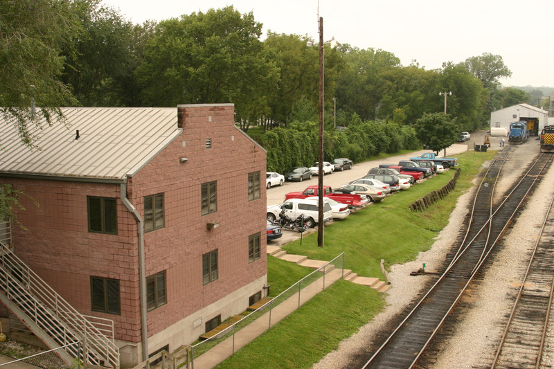 The back of the old HQ building, looking southwest across the yard