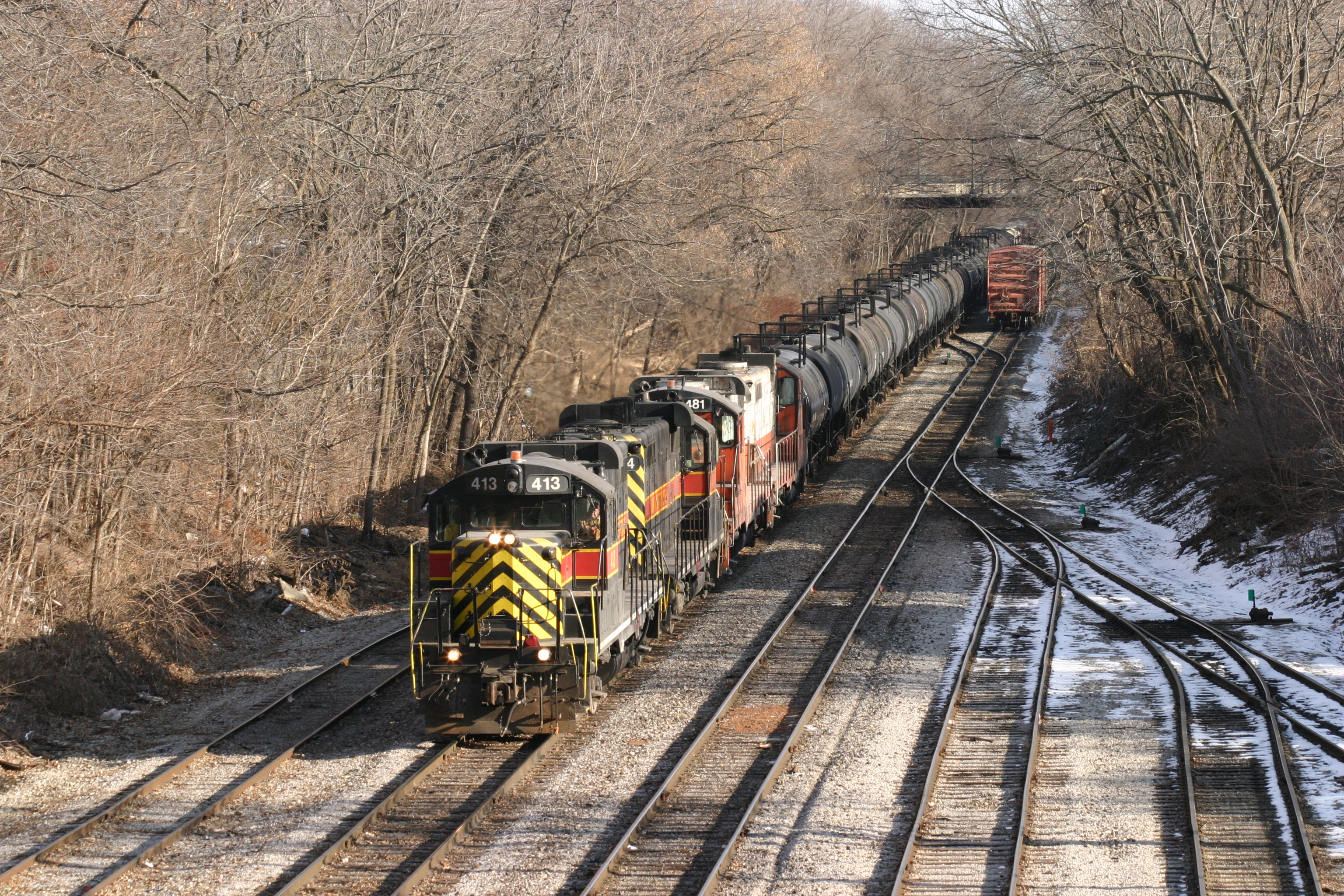 Looking east from the Dodge St. overpass at the Iowa City yard in Dec-2003