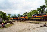 After the swap, inbound power has pulled ahead to clear, while the outbound power pulls the train into the yard.  May 25, 2005.