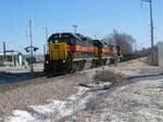 "The Newton crew is heading home on the westbound, at the ""Brickyard Crossing"" in Coralville, Jan. 30, 2008."