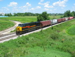 West train at the Wilton overpass, with more potash for Twin States, July 9, 2010.