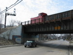 """IAIS's """"shoving platform"""" is leading a transfer run, crossing Broadway St. in Blue Island, March 25, 2008."""