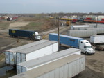 Looking north, new shipments arrive by truck.