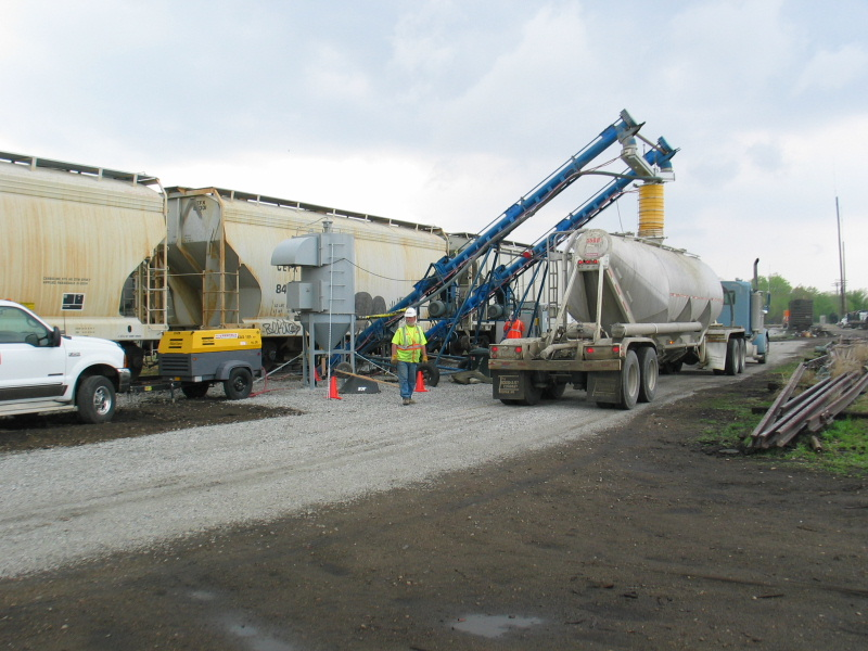 A temporary transload is currently set up in Atlantic, supplying cement to a new wind farm by Massena.