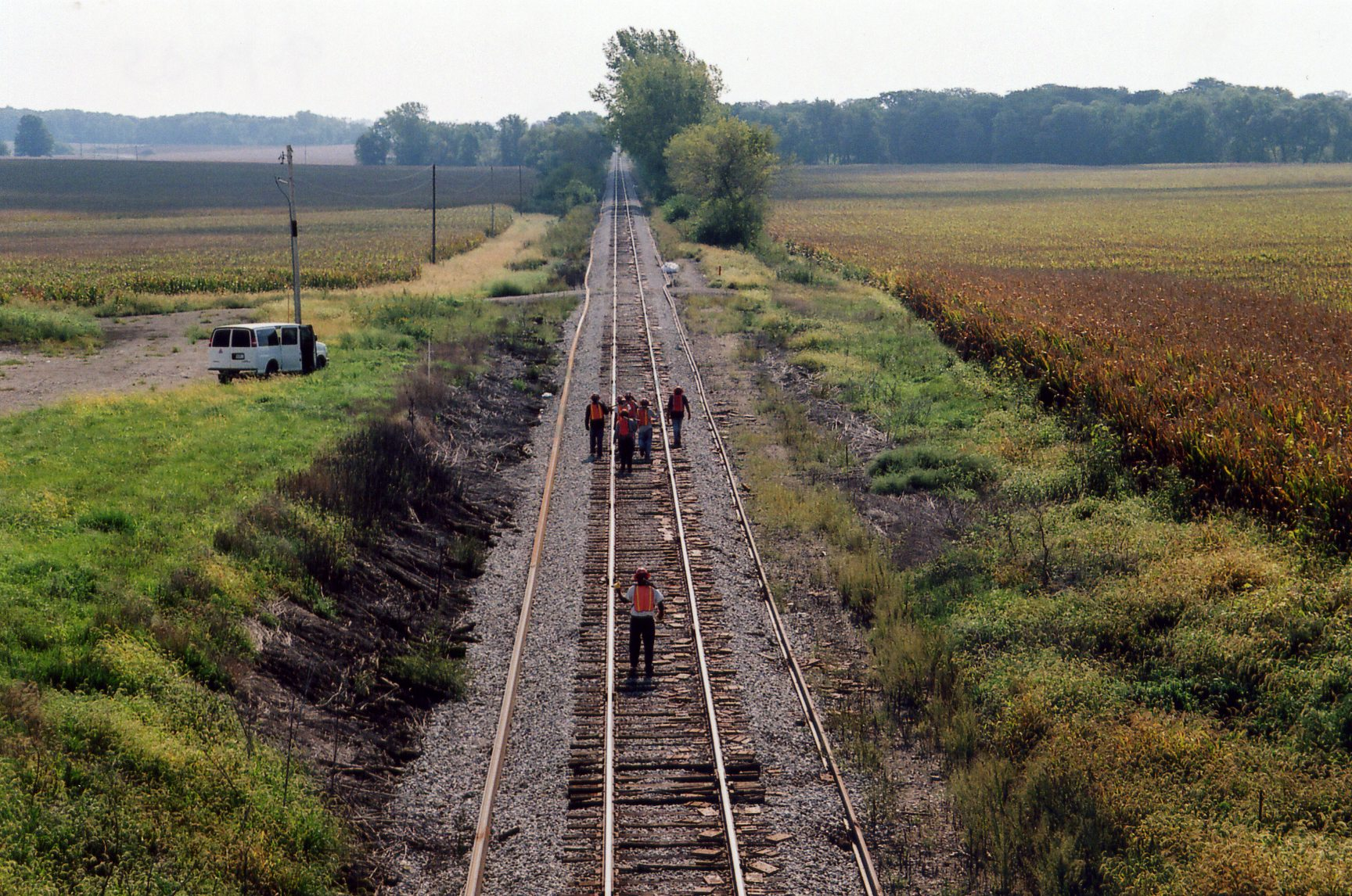 Track gang heading for their ride, mp 224.8, Sept. 19, 2005.