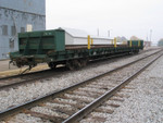 Interesting flatcar load of rails (TVRR 202) on the CENPECO track in Walcott, Oct. 31, 2005.