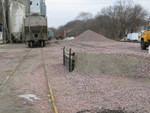 """Hoppers, ballast pile, and """"loading dock"""" at Victor, Jan. 4, 2006."""