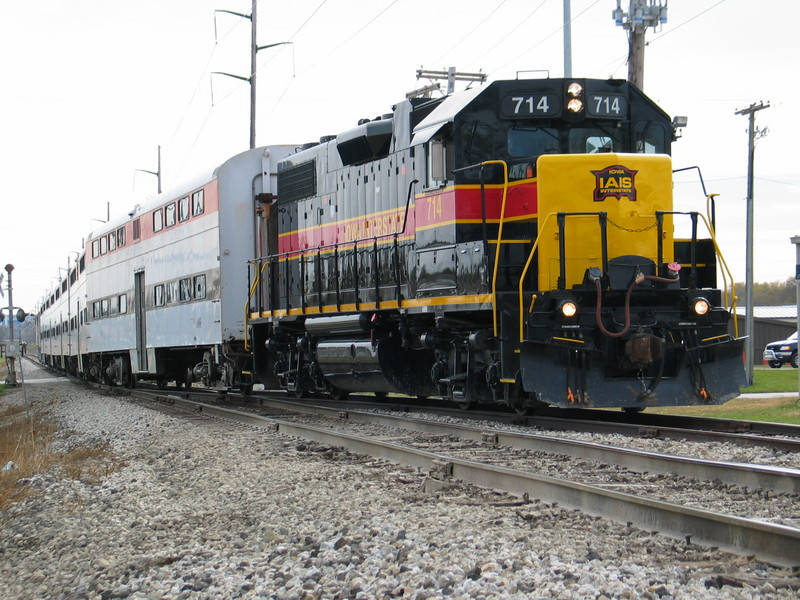 The football train heads in to clear at Vernon siding, Coralville, after the last pregame run,  Oct. 28, 2006.