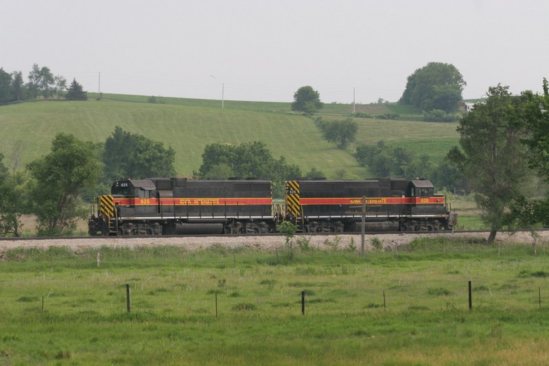 I'd heard mention of a work train on the radio, and finally found it at Wiota.  It was a large string of ballast hoppers, with 625 and 626 cut off and sitting a few carlengths east of the cars