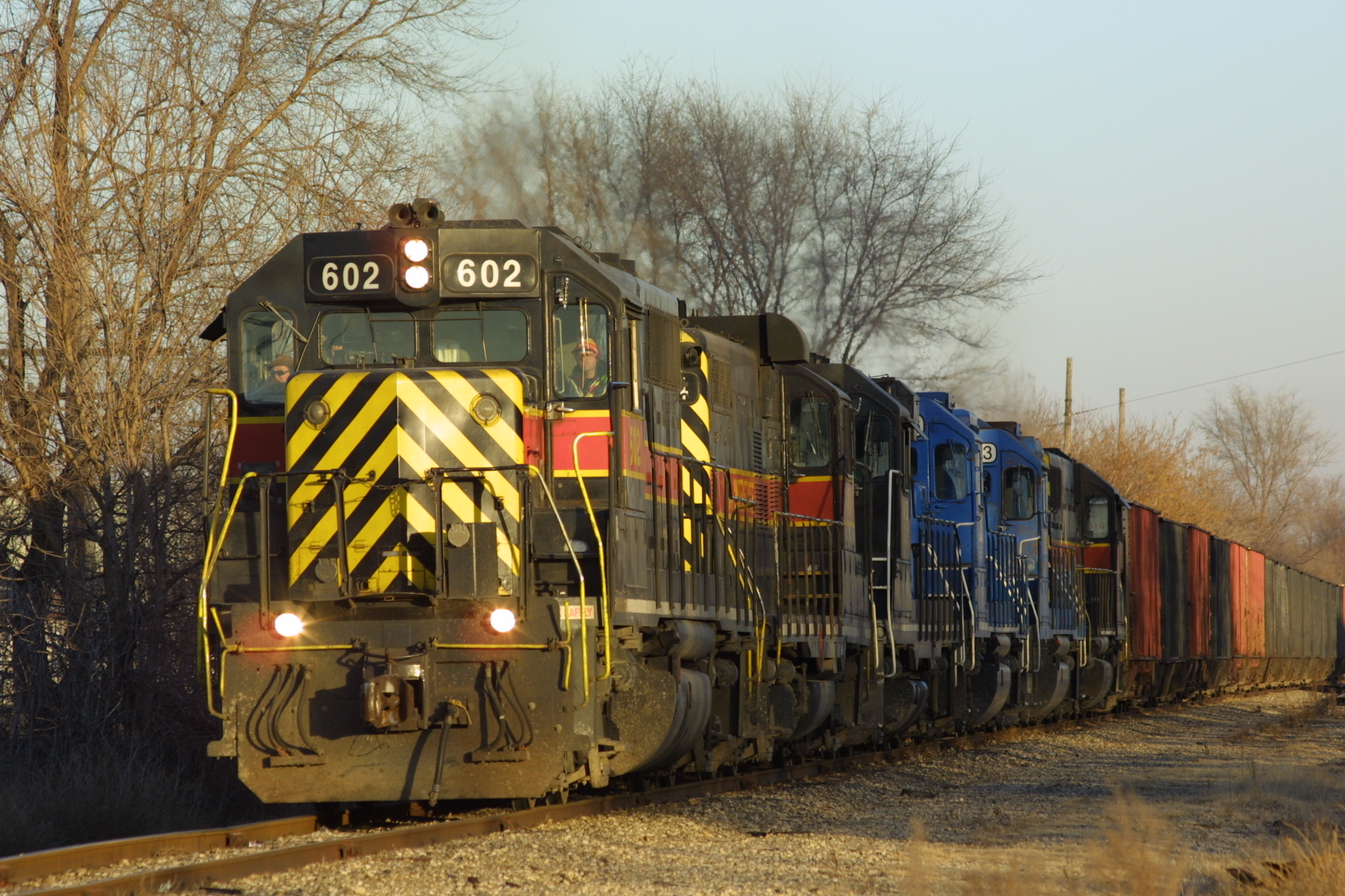 IAIS 602 and a loaded coal drag tie down in Moline, IL, on 26-Dec-2002