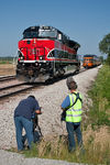 """Tracks Ahead"" film crew.   South Amana, IA."