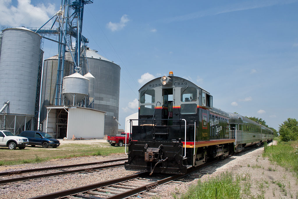 The NZ arrives at Davis Junction, IL behind CB&Q 9255.